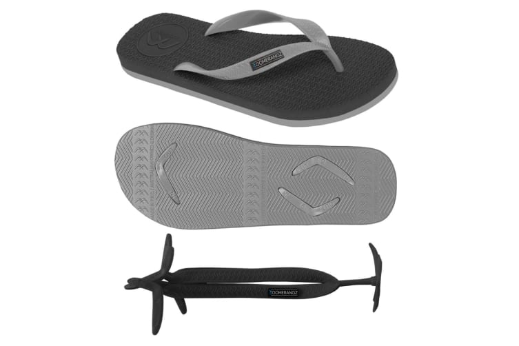 Men's Black/Grey Thongs with 1x Pair of Interchangeable Grey Straps Size 9