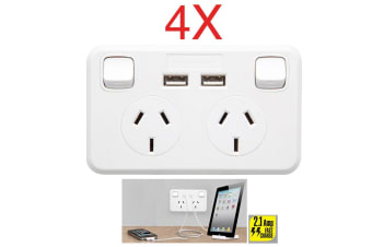 4PK Australian Wallplate Dual Powerpoint 2.1Amp 2 USB Charger Charging Outlet