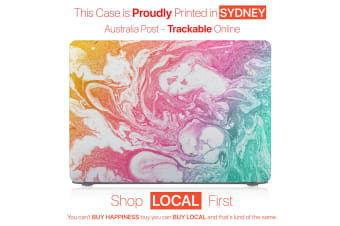 "Hard Case Cover for Apple Macbook Pro 13"" Inch  A1708-Matte Clear-Marble Rainbow"