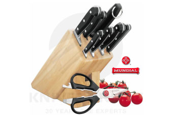 NEW MUNDIAL BONZA 9 PIECE KNIFE BLOCK SET WOODEN 9PC STAINLESS STEEL