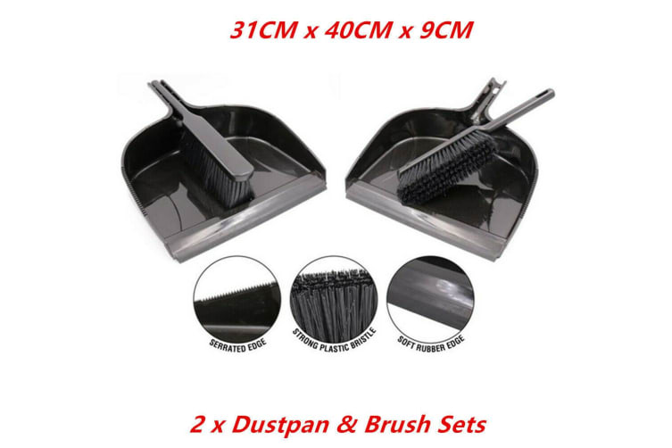 2 x Dustpan and Brush Set Heavy Duty Plastic Bristle Rubber Home Cleaning Sweep