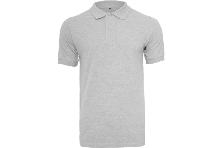 Build Your Brand Mens Pique Fitted Polo Shirt (Heather Grey) (2XL)
