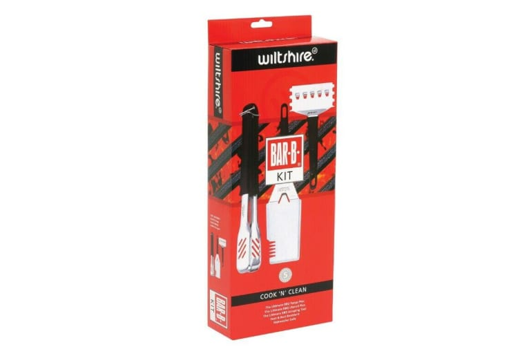 Wiltshire Bar-B Cook 'n Clean Kit - Tongs BBQ Mate Cleaning Scraper