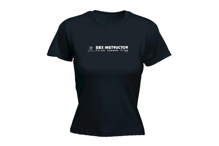 123T Funny Tee - Sex Instructor First Lesson Free - (XX-Large Black Womens T Shirt)