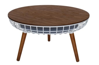 Massa Round Coffee Table | White & Walnut