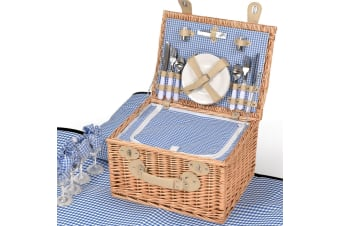 Deluxe 2/4 Person Picnic Basket Baskets Set Outdoor Corporate Blanket Park Trip  -  D