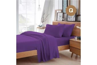 Queen Size Purple Color Poly Cotton Fitted Sheet Flat Sheet Pillowcase Sheet Set