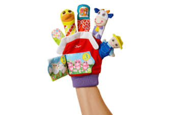 Chicco Baby Farmyard Animal Finger Puppet Glove w/ Rattle/Games/Storytelling 3m+