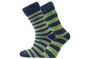 Heritage Unisex Merino Outdoor Cushioned Socks (Pack Of 2) (Green/Navy (Stripes and Hoops)) (8-12 UK)