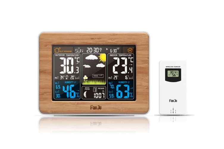 Alarm Clock With Time And Temperature Projection Usb Charging Alarm Clock - Bamboo Yellow Usb