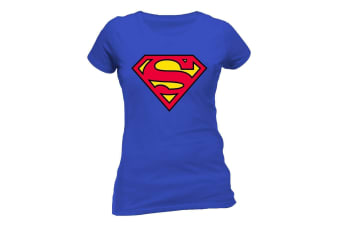 Superman Womens/Ladies Logo Design Fitted T-Shirt (Blue)