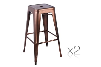 Set of 2 Steel Kitchen Bar Stools 76cm (Branze)