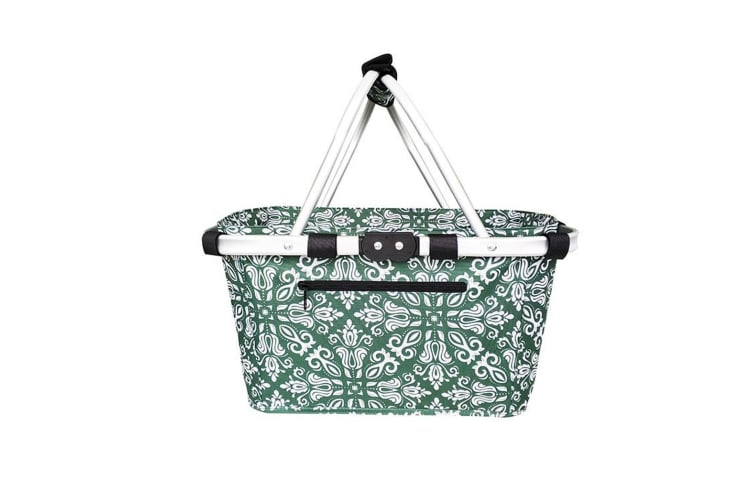 New Sachi Shop & Go Insulated Thermal Cooler Carry Basket W/Lid Bohemian Green