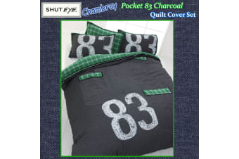 Chambray Pocket 83 Charcoal Quilt Cover Set by Shuteye