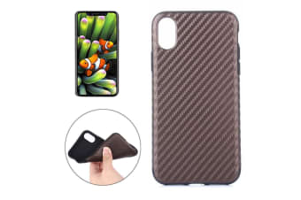For iPhone XS X Case Modern Carbon Fiber Textured Durable Shielding Cover Brown
