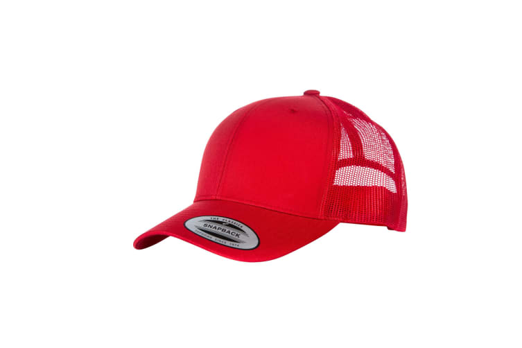 Yupoong Flexfit Retro Snapback Trucker Cap (Pack of 2) (Red/Red) (One Size)