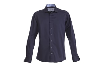 J Harvest & Frost Mens Red Bow Collection Slim Fit Formal Shirt (Navy/ Sky Blue)