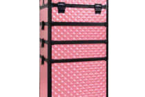 7 in 1 Portable Beauty Make up Cosmetic Trolley Case (Pink Ridged)