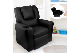 Artiss Kids Recliner Sofa Children Lounge Chair Padded PU Leather Armchair Black