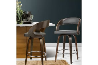 Artiss 2x Wooden Bar Stools Swivel Bar Stool Kitchen Dining Chairs Black Walnut