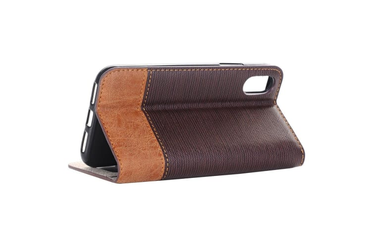 For iPhone XS X Wallet Case Toothpick Textured Durable Leather Cover Coffee