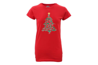 Womens Christmas Funny Tee Xmas Santa Tops Ladies 100% Cotton T Shirt Fit [Design: Animals Tree] - Red