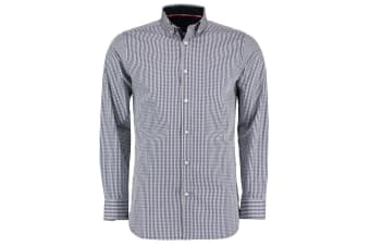 Clayton & Ford Mens Long Sleeve Gingham Shirt (Navy/White) (16.5inch)