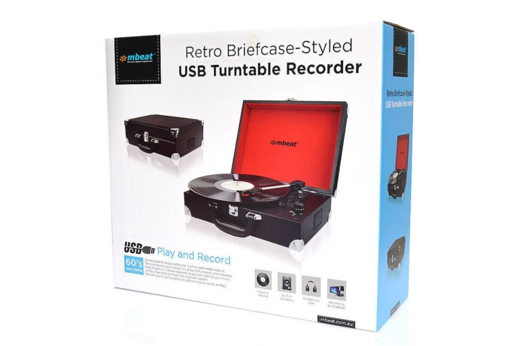 mbeat Retro Turntable USB/AUX 3-Speed/Record/Built In Speakers Briefcase Black