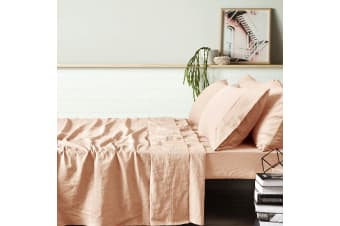 100% Linen Peach Sheet Set KING