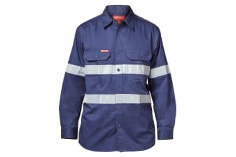 Hard Yakka Men's Koolgear Ventilated Hi-Vis Long Sleeve Taped Shirt (Navy)