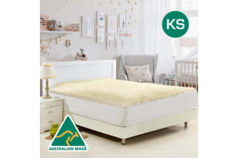King Single Size Aus Made Fully Fitted Reversible Wool Underlay