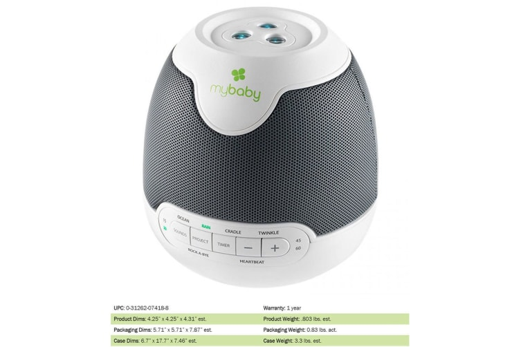 Homedics My Baby SoundSpa Lullaby Projector for Baby/Infant Sleep Sound w/ Timer