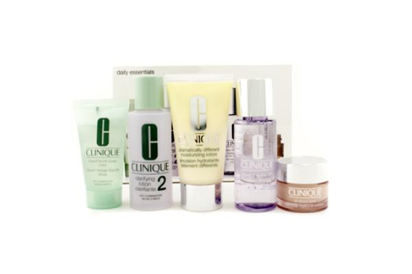Clinique Daily Essentials Set (Dry Combination Skin): Clarifying Lotion 2 + Makeup Remover + DDML + Facial Soap + Eyes  78C0 (5pcs)