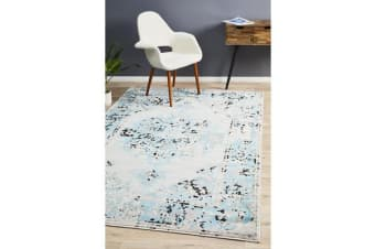 Felicia Blue & Grey Soft Vintage Look Rug 290x200cm