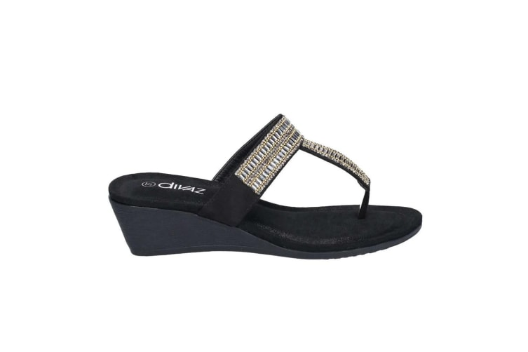 Divaz Womens/Ladies Gem Slip On Sandals (Black) (4 UK)
