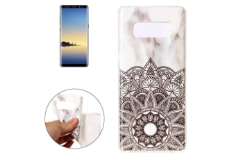 For Samsung Galaxy Note 8 Back Case Elegant Marbled Cover Mandala Flower White