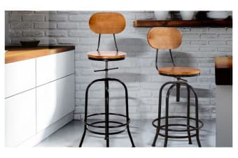 2 x Vintage Retro Industrial Swivel Bar Stool