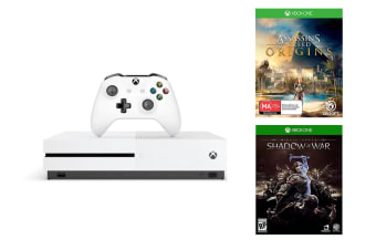 Xbox One S Console 500GB with Assassins Creed Origins and Middle Earth Shadow of War
