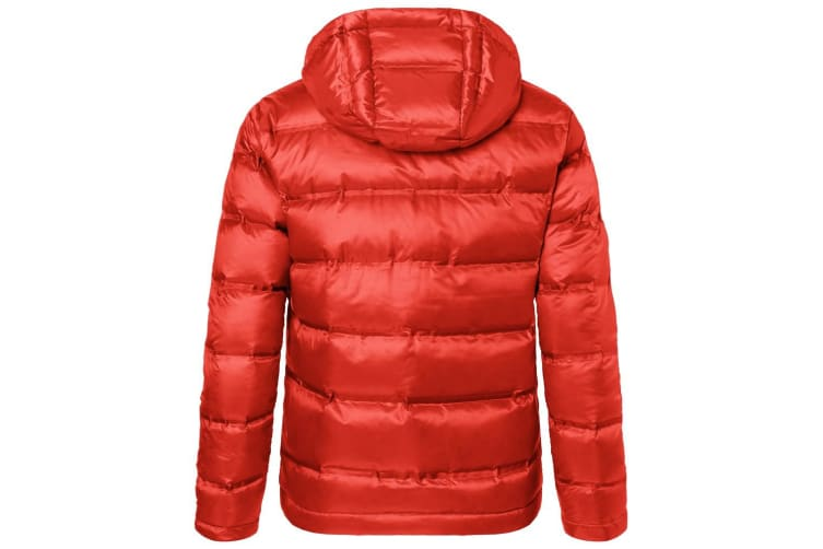 James and Nicholson Mens Hooded Down Jacket (Flame Red/Black) (XXL)