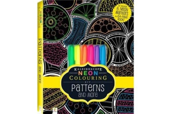 Neon Colouring Kit with 6 highlighters - Patterns