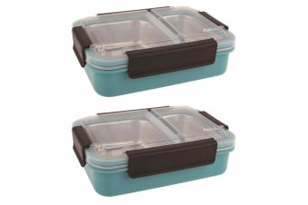 2PK Oasis 23cm Stainless Steel 2 Compartments Food Lunch Box Storage Turquoise