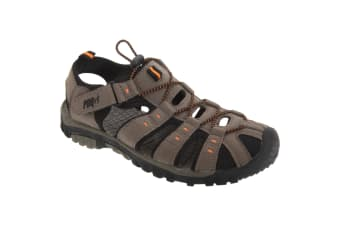 PDQ Mens Toggle & Touch Fastening Synthetic Nubuck Trail Sandals (Dark Taupe/Orange)