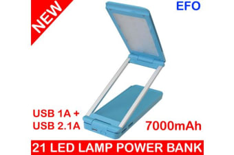 21 Led Rechargeable Desk Lamp Power Bank 7000Mah 2X Usb Port 2.1A / 1A Iphone 5
