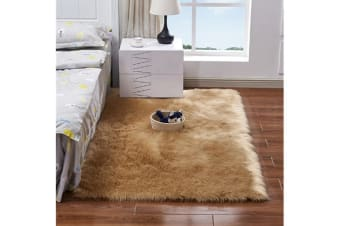 Super Soft Faux Sheepskin Fur Area Rugs Bedroom Floor Carpet Camel 50*50
