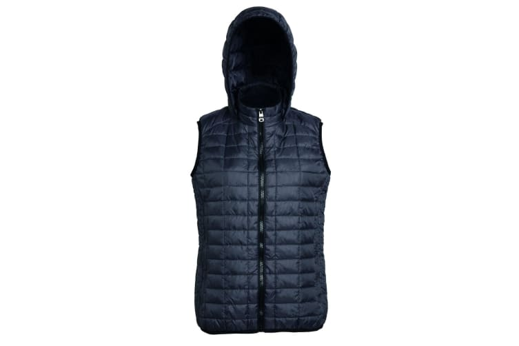2786 Womens/Ladies Honeycomb Zip Up Hooded Gilet/Bodywarmer (Black) (S)