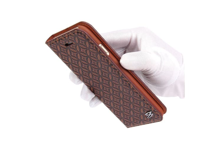 For iPhone 6S 6 Wallet Case Fierre Shann Copper Coin Durable Leather Cover Brown