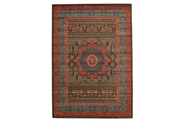 Antique Heriz Design Rug Brown Red Blue 330x240cm