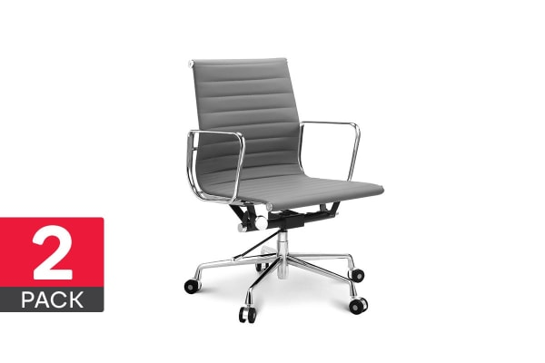 2 Pack Ergolux Executive Eames Replica Low Back Ribbed Office Chair (Grey)