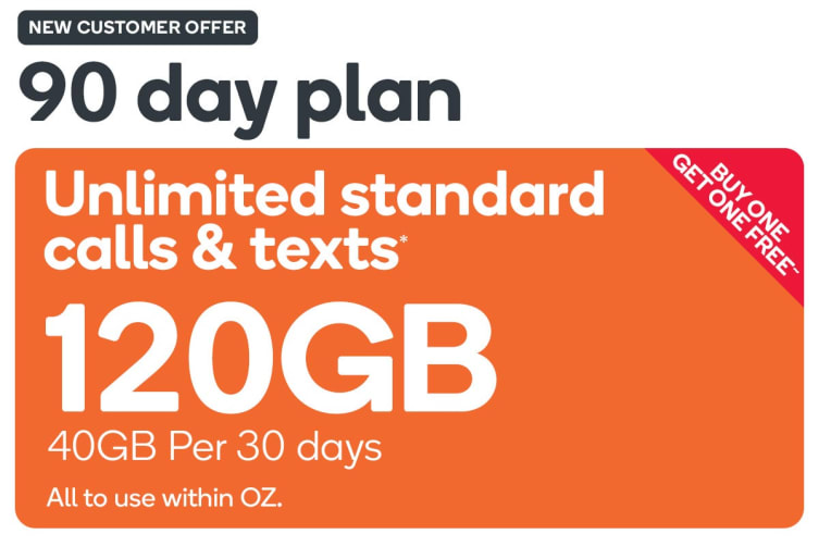 Kogan Mobile Prepaid Voucher Code: EXTRA LARGE (90 Days | 40GB Per 30 Days) - Buy One Get One Free