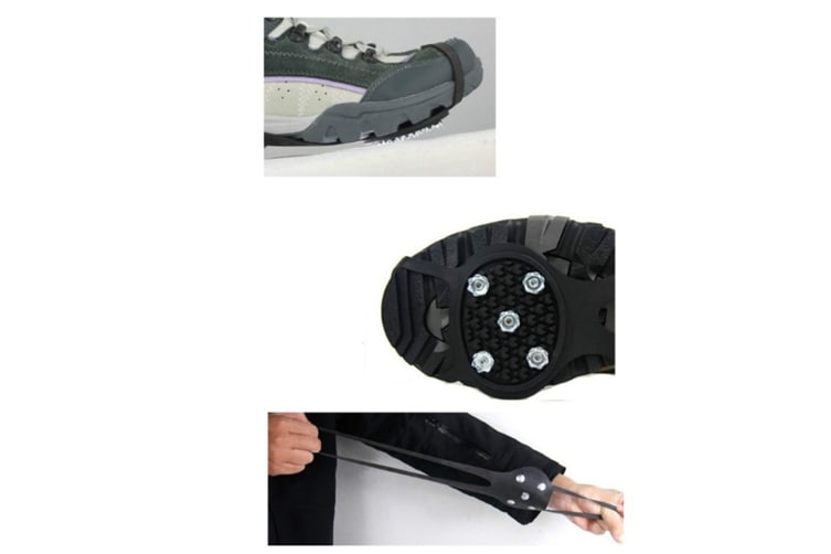 Snow Non-Slip Shoe Cover Hoist Type 5 Tooth Crampons Professional Ice Catching - Black Black